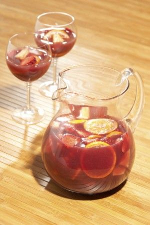 Olive Garden's Sangria CopyKat Recipe: Red wine, grenadine, cranberry juice, vermouth, simple syrup, fruit, ice