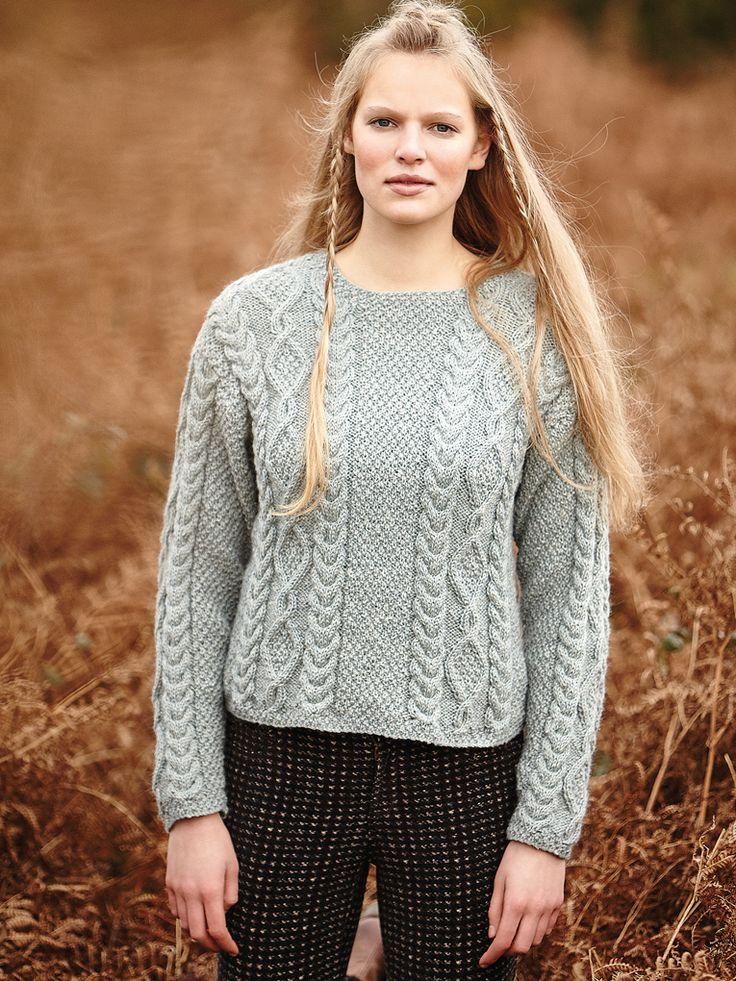 Moss Stitch Jumper Knitting Pattern : Dartmoor - Dartmoor Knit this womens double moss stitch and cabled sweater by...