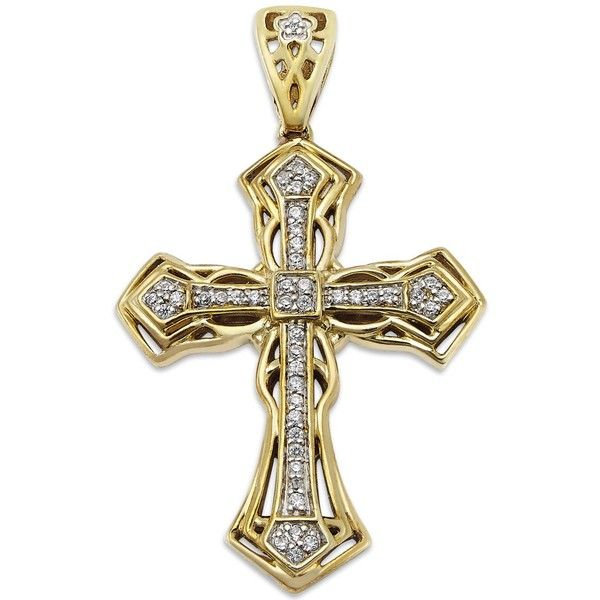 Men's Diamond Cross Pendant in 10k Gold (1/6 ct. t.w.) ($1,050) ❤ liked on Polyvore featuring men's fashion, men's jewelry, men's necklaces, yellow gold, mens yellow gold cross necklace, mens diamond pendant necklace, mens diamond cross necklace, mens diamond necklace and mens gold necklace