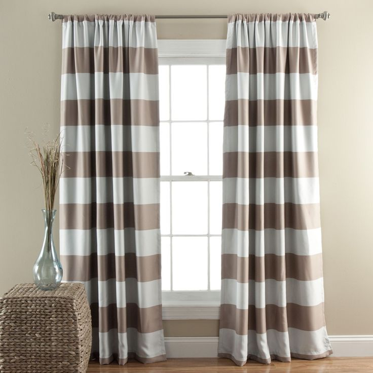 lush decor horizontal stripe blackout 84inch curtain panel pair grey size 52 x 84
