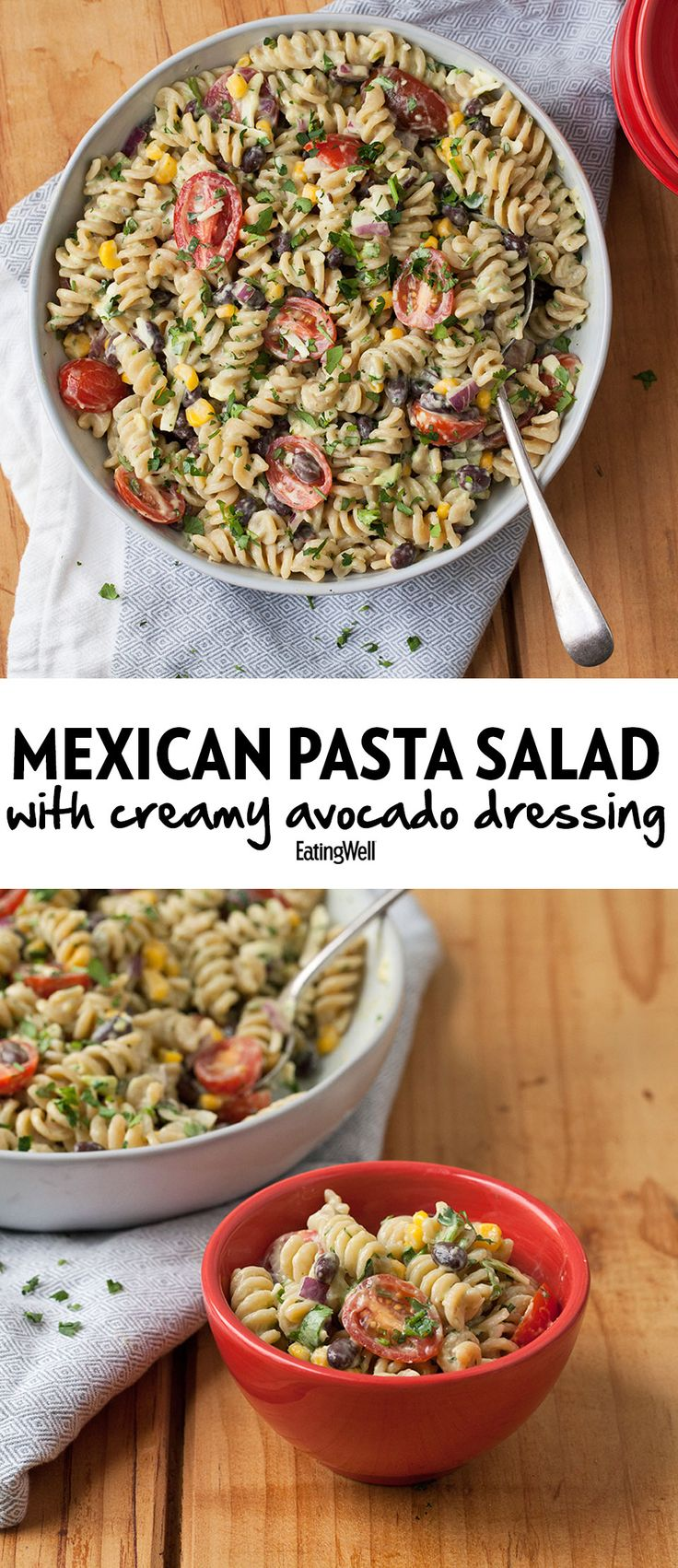 pasta salad recipe. We lighten up the creamy dressing with avocado ...