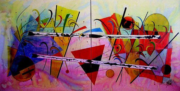 """""""Tren de vida"""",  pintura constructivista del autor contemporáneo José Vicente Marín Lozano."""