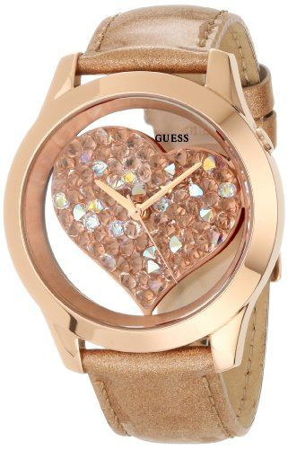 GUESS U0113L3 Rose Gold-Tone Crystal Heart Watch