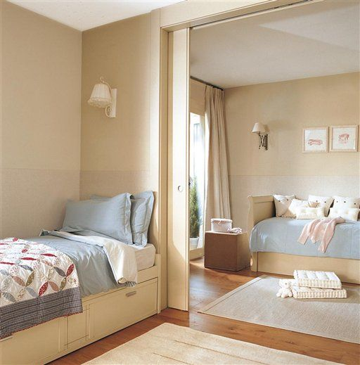"""a """"shared"""" boys and girls room with a pocket door, neutral color palette"""