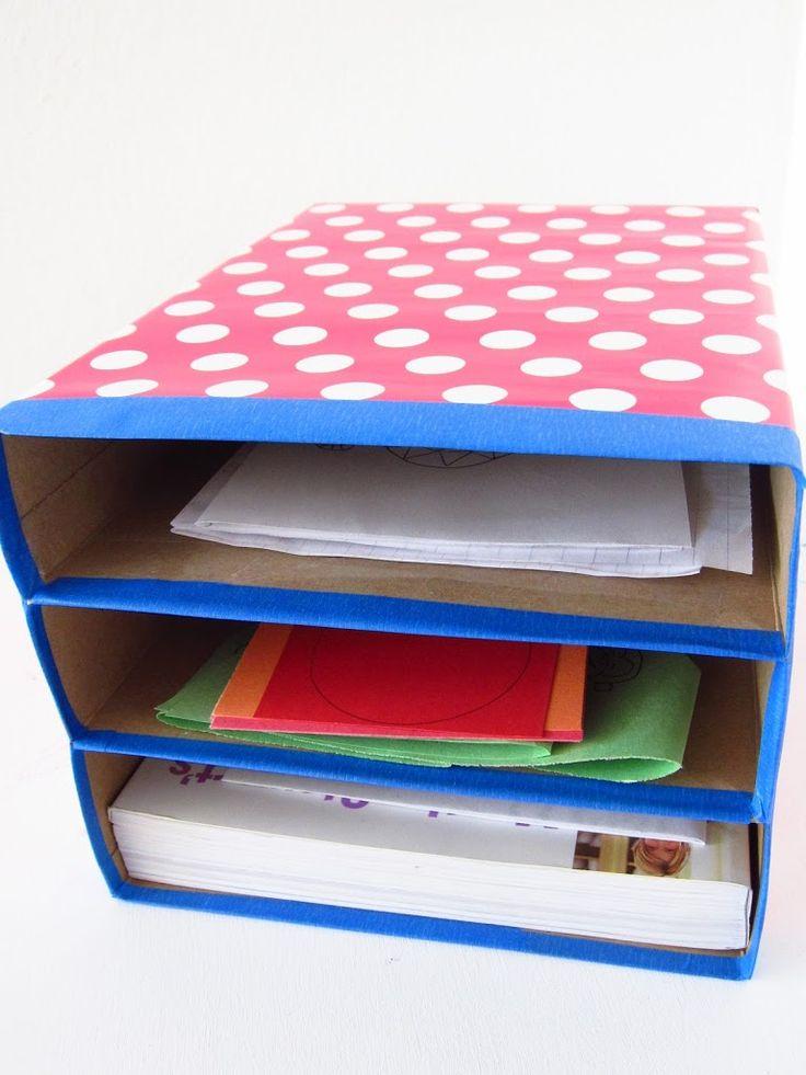 Organizador de papeles hecho con cajas de cereal.   #Artividades