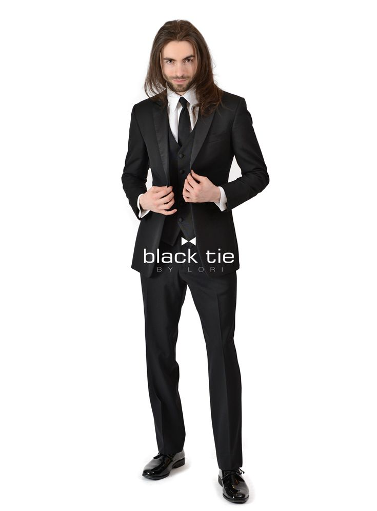 "Ike Behar Black ""Jackson"" Peak Tuxedo - The black Ike Behar ""Jackson"" slim fit tuxedo is elegant, fashionable and sophisticated. This slim fit Ike Behar ""Jackson"" peak tuxedo features a single button single breasted front, satin peak lapels and besom pockets. ""Jackson"" Ike Behar slim fit tuxedo is fashioned with Super 120's wool and constructed for impeccable fit to make you look slim and sleek for your special occasion. - Online Tuxedo Rental"