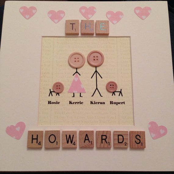 Together we make a family stick men people, personalised with your family, names pets, house warming gift box frame