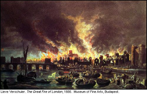 The Great Fire of London began on the night of September 2, 1666, as a small fire on Pudding Lane, in the bakeshop of Thomas Farynor, baker to King Charles II. At one o'clock in the morning, a servant woke to find the house aflame, and the baker and his family escaped, but a fear-struck maid perished in the blaze.