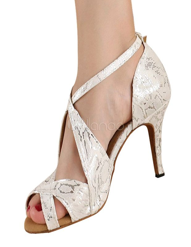 Silver Peep Toe Metallic Criss-Cross Silk And Satin Stylish Latin Shoes