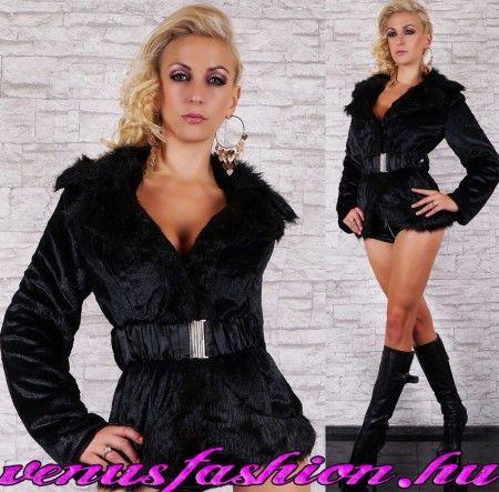 Fekete műszőrme kabát bunda övvel