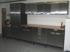 Modern Stainless Steel Kitchen Cabinet With Low Style Base Kitchen Cabinet Legs Also Functional Wall Mounted Cabinet Ideas Also Neutral Brown Wood Material