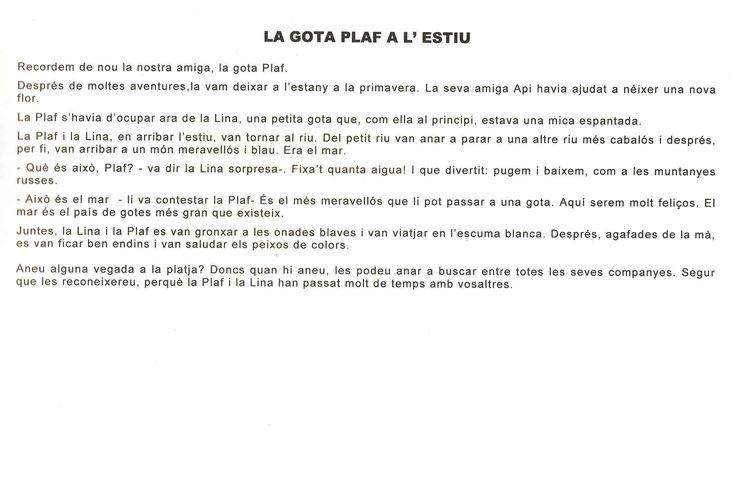 EL CICLE DE L'AIGUA. LA GOTA PLAF A L'ESTIU 2