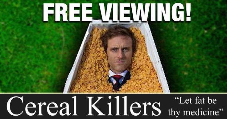 "A paradigm shifting look at what we eat and how its killing us. ""Cereal Killers"" talks about the American food pyramid, how to eliminate sugars and grains, and how to boost your fat intake. http://articles.mercola.com/sites/articles/archive/2014/06/28/cereal-killers-movie.aspx"