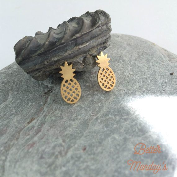 Earring Gold plated Pineapple Ear Stud Earings by BetterMondays