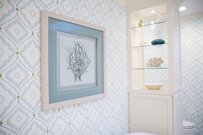 EA Interior Design - built-in cabinet partition between tub and toilet