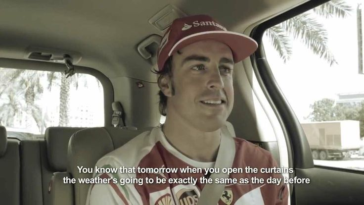 """Fernando Alonso, warming up in Dubai"" is a full day of training with driver Fernando Alonso in various locations of Dubai. The day consisted of a program of strength and conditioning at the beach, a karting race, a few miles of cycling and a football game in the sweltering heat of Dubai."