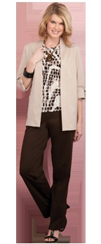 San Remo Knit Open Front Cardigan, Microfine Jersey Crew Neck Top, San Remo Knit Pull-On Pant