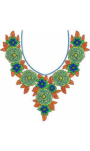 Round-Neck Cotton Silk Top Dress Cording Embroidery Design