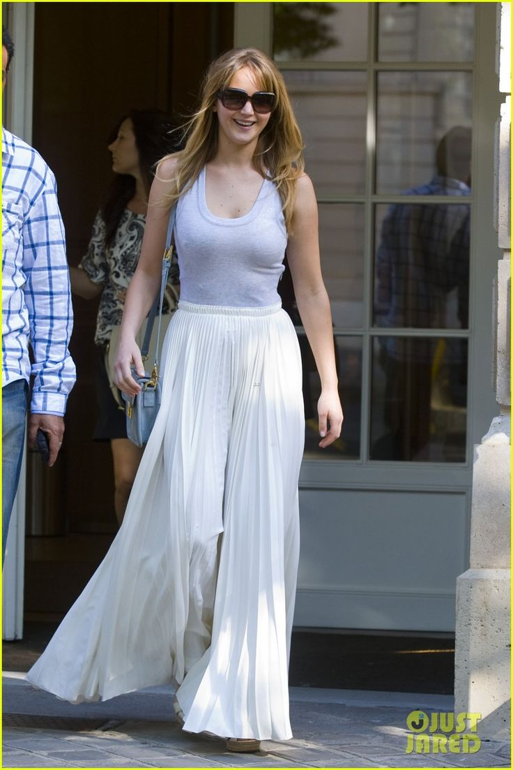 : Paris, Jennifer Lawrence Street Style, Fashion, Dresses, Jennifer'S Lawrence, Gowns, Street Styles, White Maxi Skirts, Cities Chic Outfits