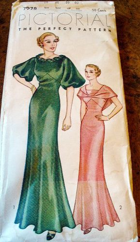 Pictorial Review Pattern 7978 (1930s). Evening dress pattern.