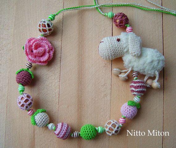 Crochet necklace for girl baby kid Teething crochet wooden beads Nursing jewerly Breastfeeding mom Babywearing necklace Organic Toddler gift