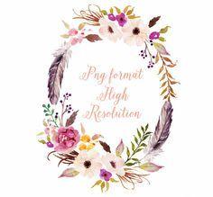 Corona di fiori acquerello con piuma / PNG di GraphicSafari