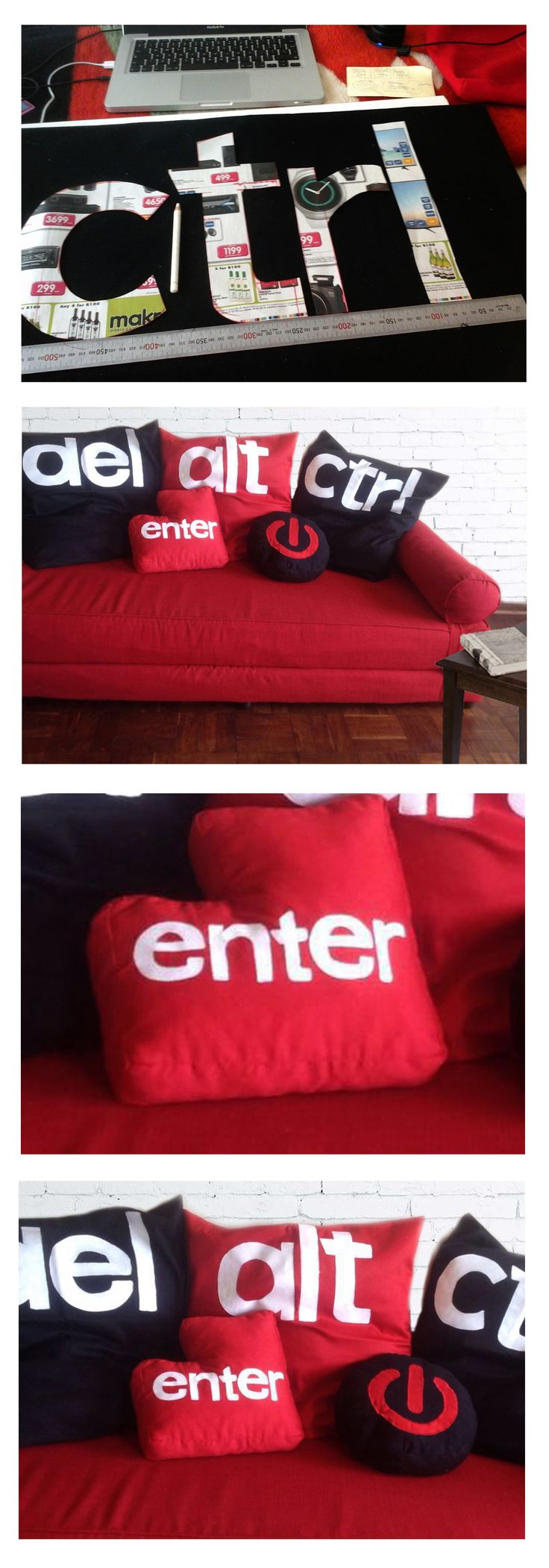 Hand-painted lettering on custom-made denim cushion sleeves for a cool young professional. Need I say more?