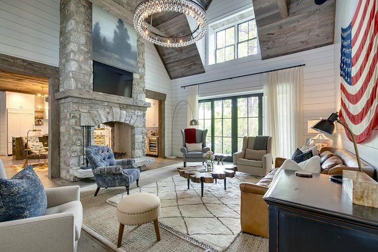 Lght stones with white shiplap  Inside Brooklyn Decker and Andy Roddick's North Carolina Home via @MyDomaine