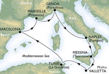 Barcelona – Marsilia – Genova – Napoli – Messina – Valletta - La Goulette – Barcelona