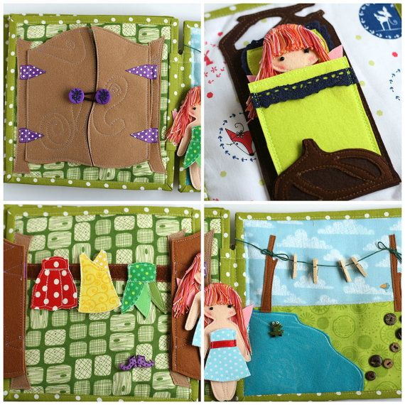 The listing is for Fairy dollhouse book with felt fairy doll. This book made to order, takes 1-2 weeks to complete. Since it is a handmade item, every book id one of a kind. The pages may not look exactly the same as pictured.  Features 6 pages: 1. kitchen 2. dining room 3. bathroom 4. bedroom 5. wardrobe 6. laundry Take a closer look at all the pages in my blog http://tom-toy.blogspot.co.il/2015/05/fairy-house.html  MATERIALS The pages made from cotton fabric lined with fusible interfacing…