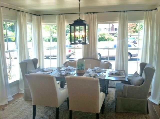 Great way to do drapes in a room with lots of windows! -Hannah Parker Home