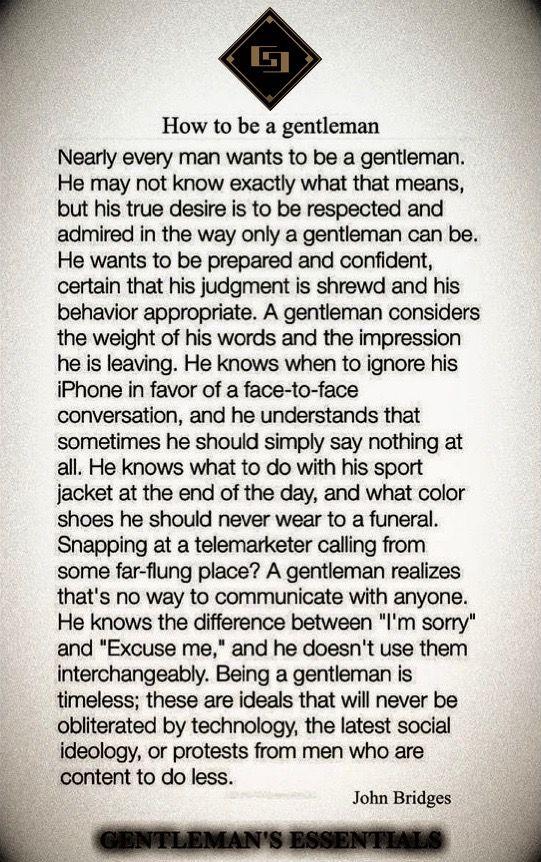 How to be a Gentleman www.gentlemans-essentials.com