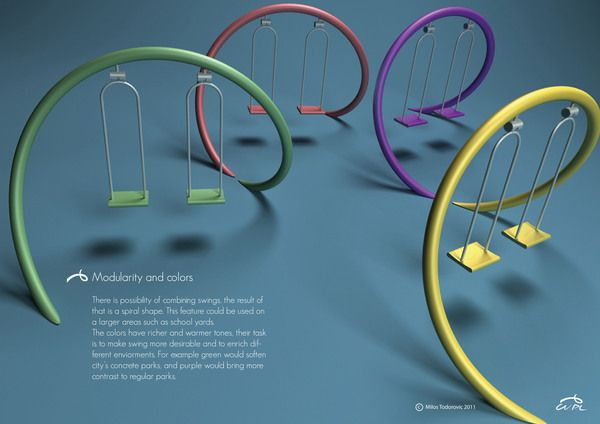 Playground swing by Milos Todorovic, via Behance.  This would be so cool!  Why can't I think of cool designs and make millions?