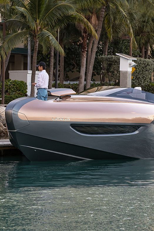 The Lexus Sport Yacht concept's unique carbon fiber reinforced plastic is used in the structure of race cars and supercars like the 553-horsepower Lexus LFA. The Lexus Sport Yacht concept debuted at Di Lido Island on Biscayne Bay in Miami Beach, FL.