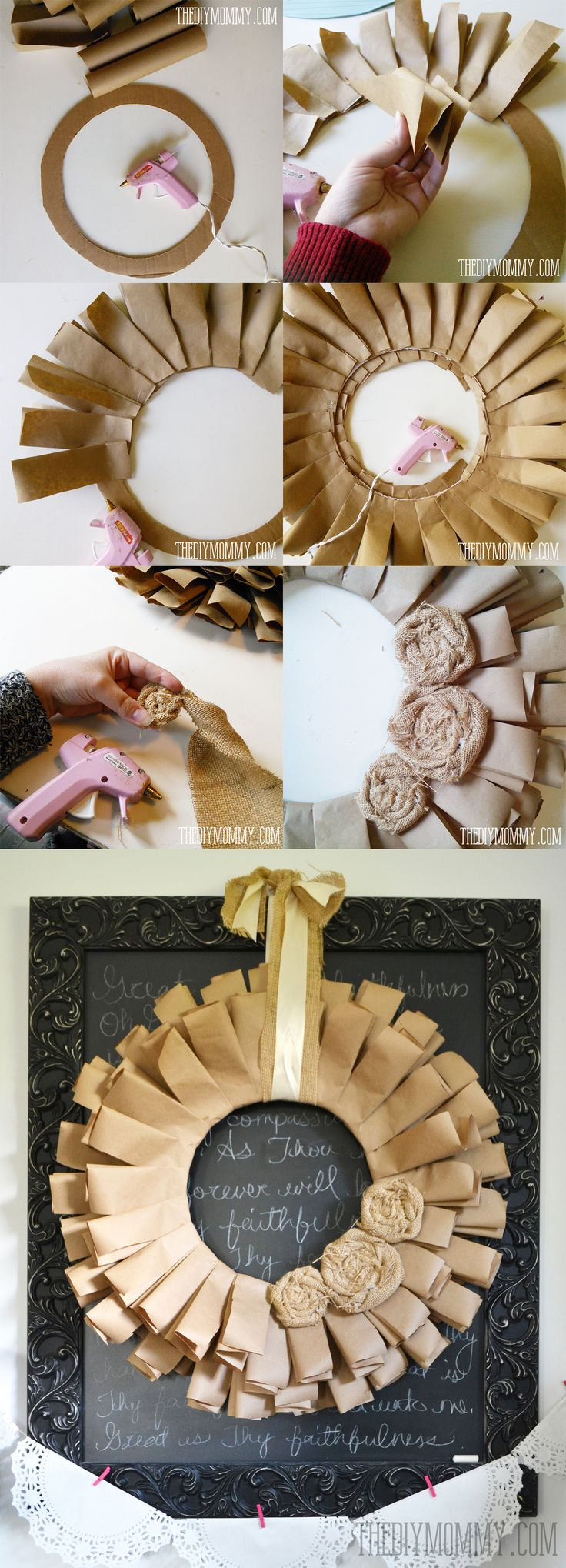 A brown paper book page and burlap rosette fall wreath tutorial | The DIY Mommy