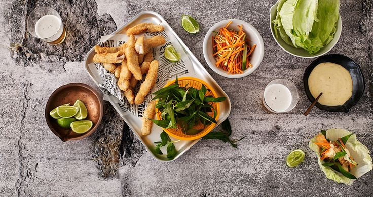Vietnamese lettuce cups with fish parma fingers