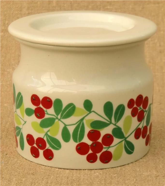 1960's Arabia (Finland) lingonberry design jam jar with lid