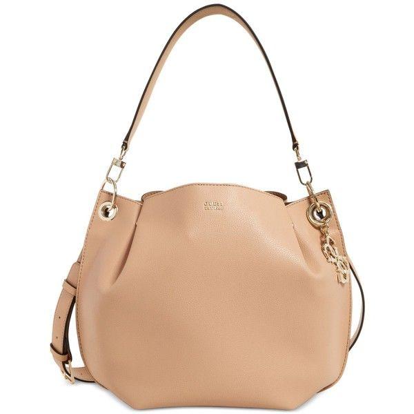 Guess Digital Medium Hobo ($98) ❤ liked on Polyvore featuring bags, handbags, shoulder bags, tan, tan purse, hobo shoulder bags, white hobo purse, shoulder strap handbags and guess purses