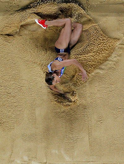 Istanbul, Turkey: Jessica Ennis of Great Britain competes in the long jump event of the women's pentathlon during the world indoor athletics championships