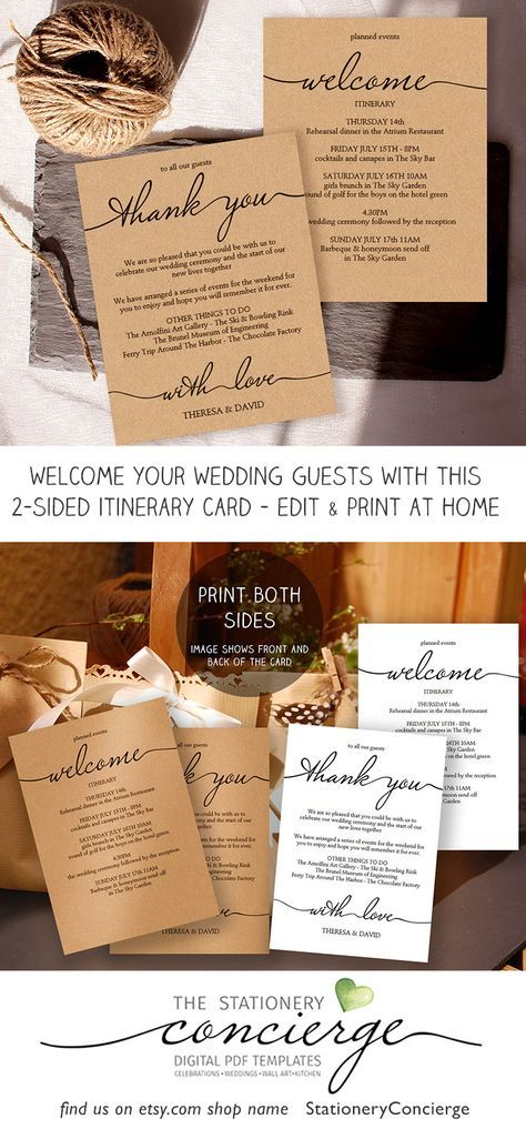 free online printable wedding thank you cards%0A Printable Wedding Itinerary Template  Wedding Weekend Itinerary  Wedding  Welcome Letter  Wedding Welcome Template  Wedding Itinerary PDF