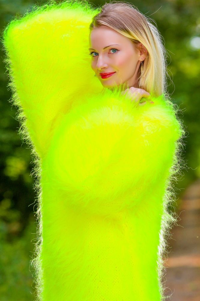NEON YELLOW Hand Knitted Mohair Sweater SLOUCHY Fuzzy Dress by SUPERTANYA M L XL #SuperTanya #Crewneck