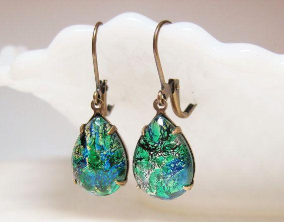 Emerald Green Fire Opal Harlequin Glass Earrings Dangles Jewelry Vintage Glass Jewels Rhinestone Drop Earrings Dragon's Breath Blue Green