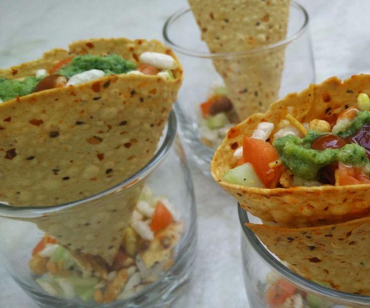 Masala Papad Cones (Indian Snack)