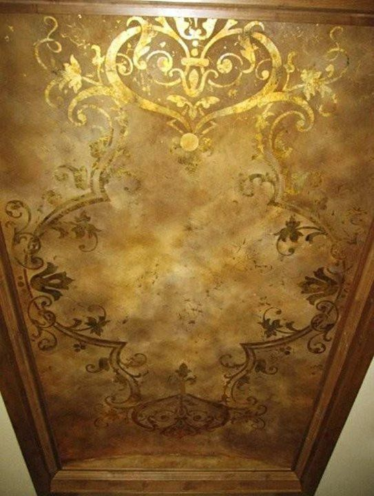 Beautiful gold leaf ceiling my distressed gold inlay for Ceiling mural painting techniques