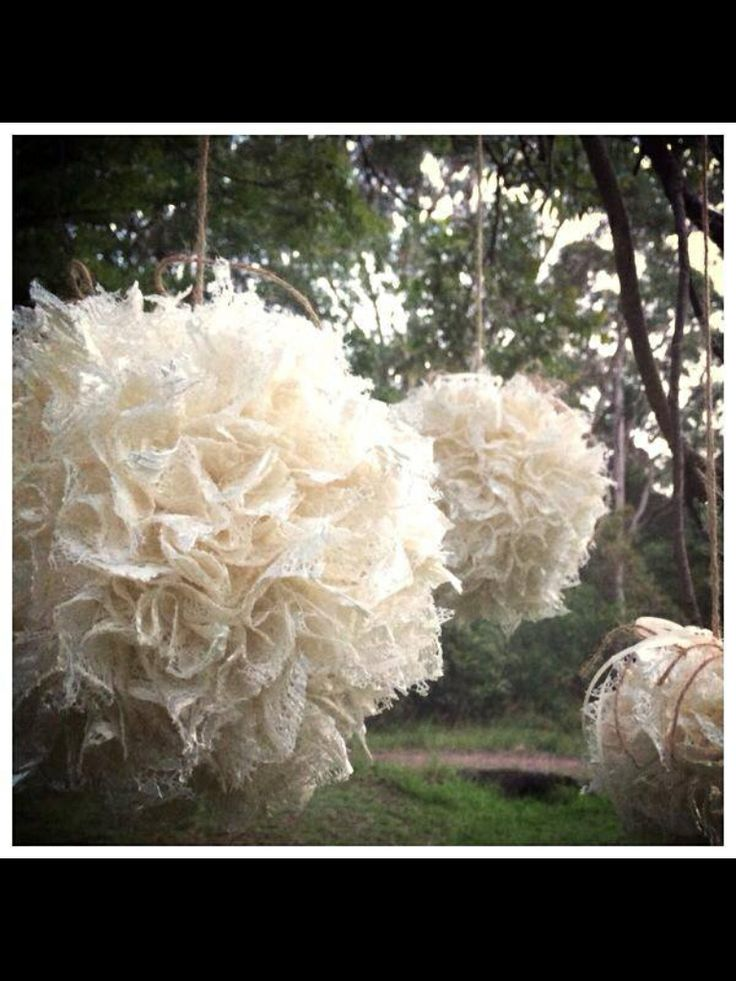 Lace balls ...in all sizes for that perfect garden wedding