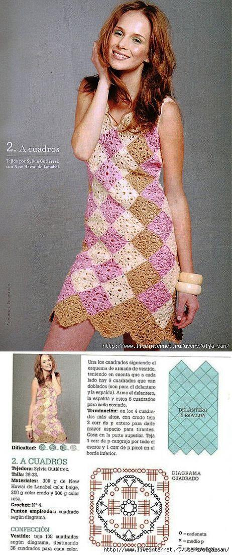 платье из квадратных мотивов крючком.