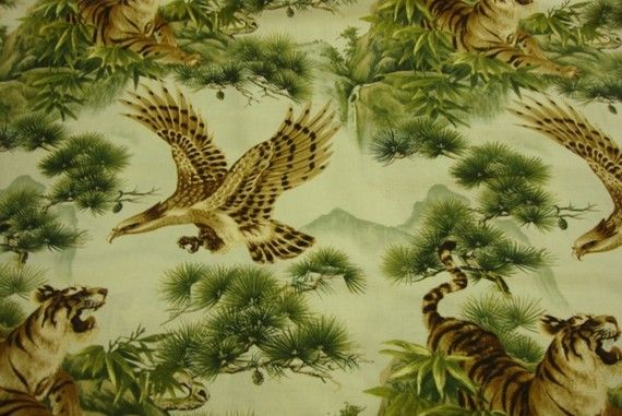 Oriental Traditions Eagles and Tigers prints in от FabricBistro