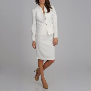 Signature by Larry Levine Women's White Subtle Dot Print Skirted Suit | Overstock.com Shopping - The Best Deals on Skirt Suits