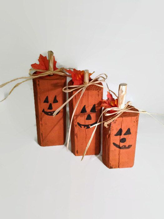 wood pumpkins rustic halloween decor reclaimed wood hand painted pumpkins primitive halloween - Etsy Halloween Decorations