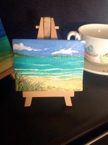 Mini beach painting on stand by RubyLarkspurArt on Etsy